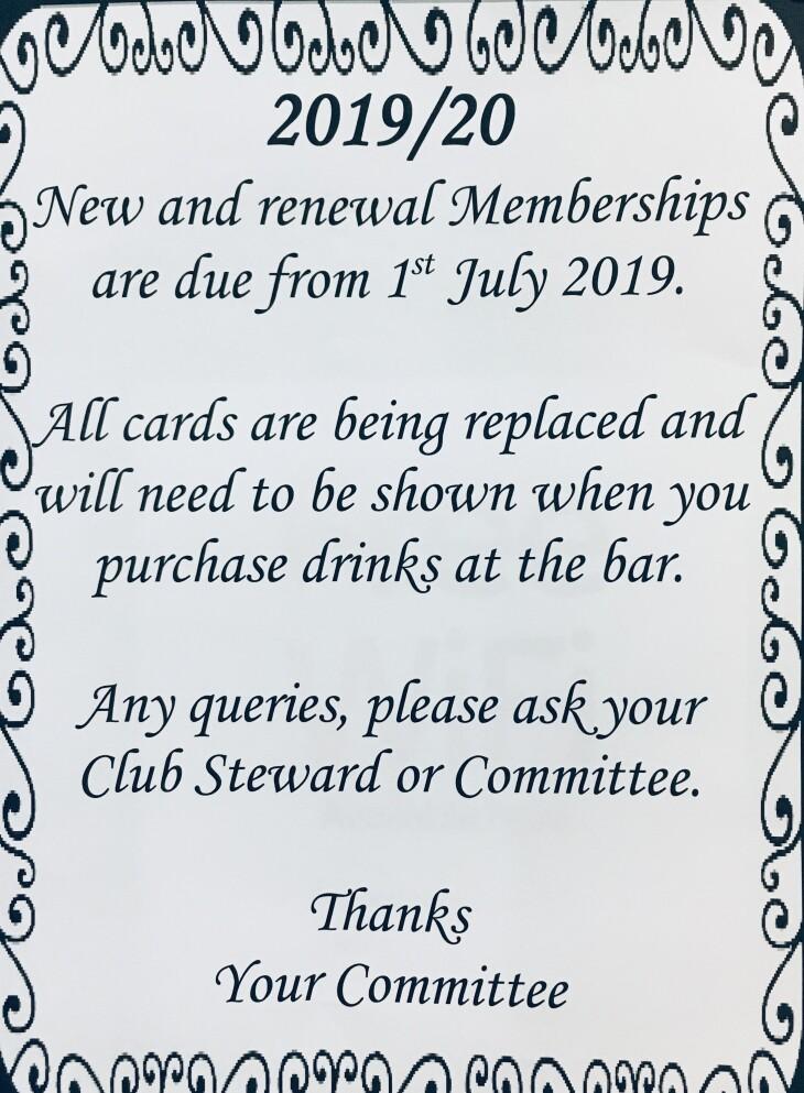 New and renewal memberships