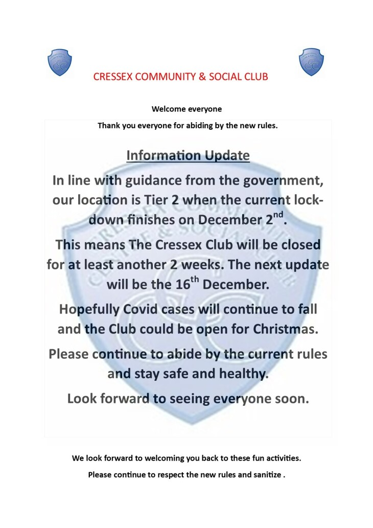 Cressex Club lockdown update 27/11/20