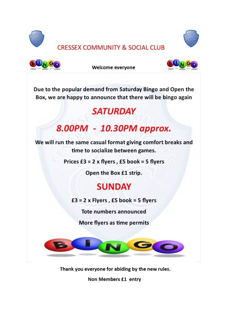 Bingo etc Saturdays and Sundays