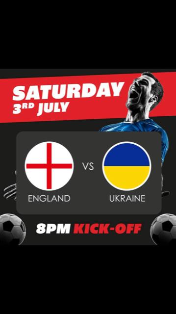 England V Ukraine 8pm Saturday