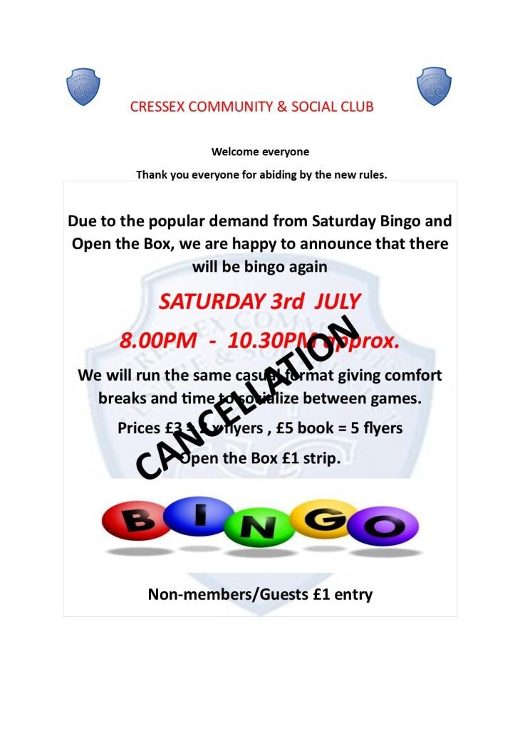 Cressex Bingo cancellation