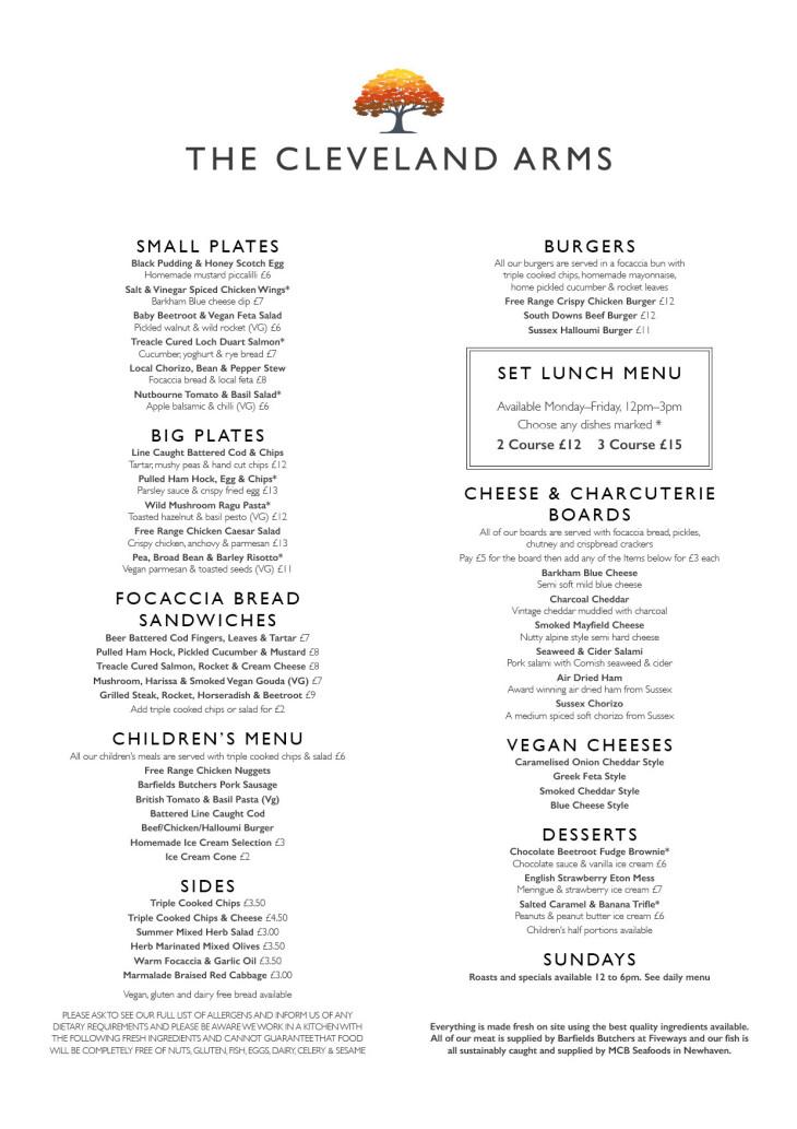 New Sunday menu!!