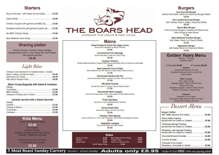 New Menu From Monday