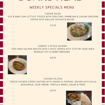 Weekly Specials at the Boars Head