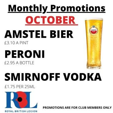 October Bar Promotions