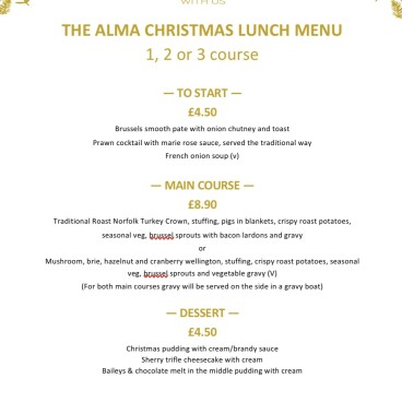 Christmas lunch bookings