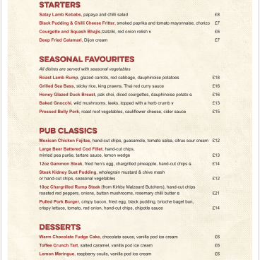 NEW SEASON NEW MENU HAS ARRIVED