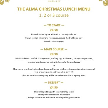 Christmas lunch bookings 2021