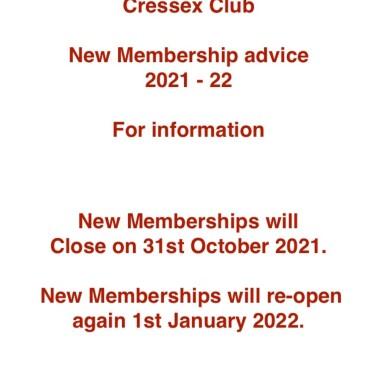 New Membership Advice 2021 - 22