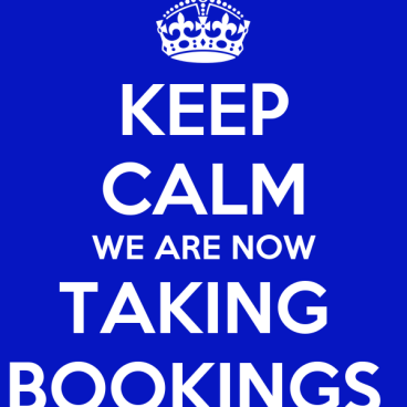 We Are Now Taking Bookings!