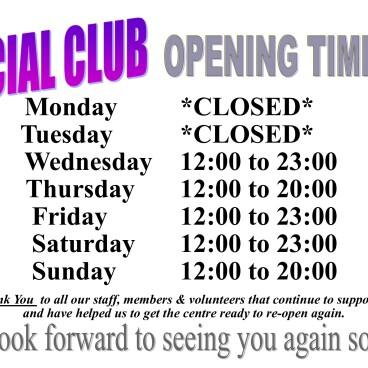 Social Club Opening Times fm 19-05-21