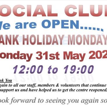 Social Club - Open Bank Holiday Monday