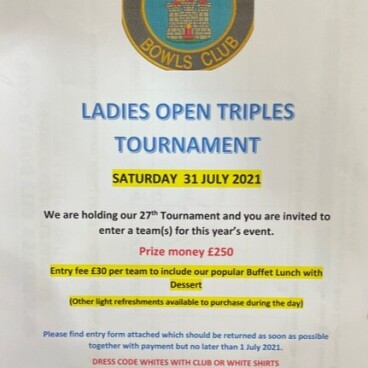 Ladies Bowls Open Triples