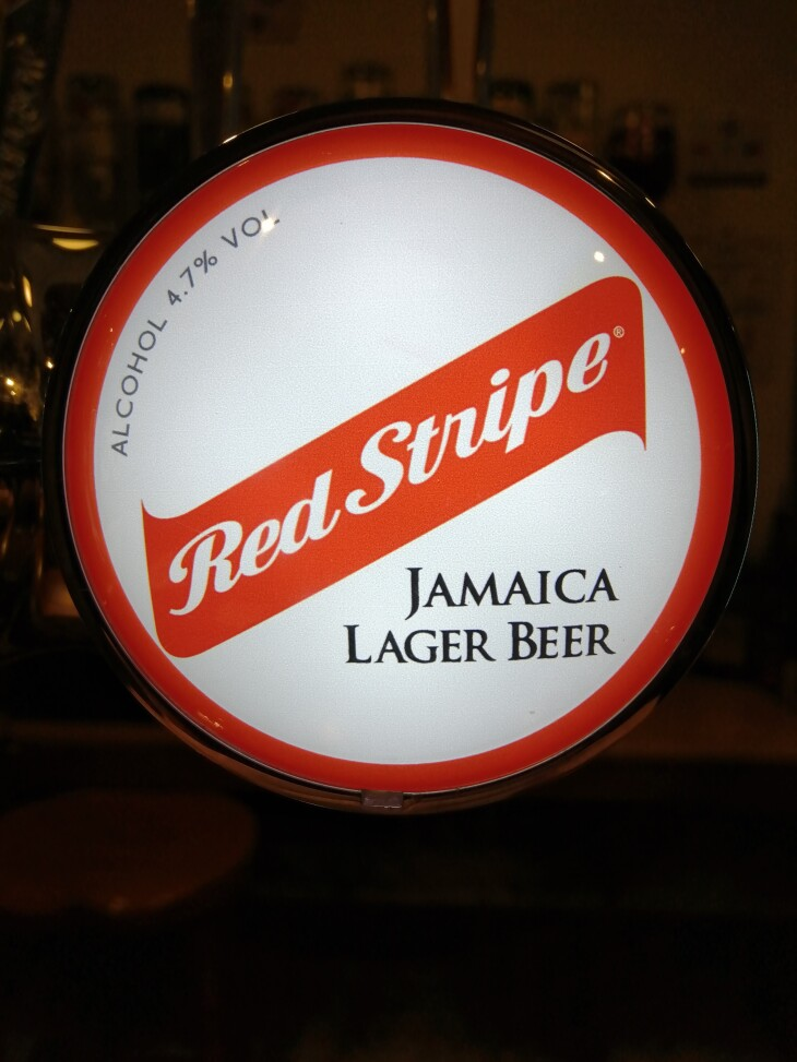 Red Stripe lager now on tap !