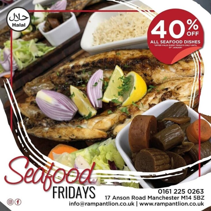 40% off, Seafood Fridays Jan and Feb!