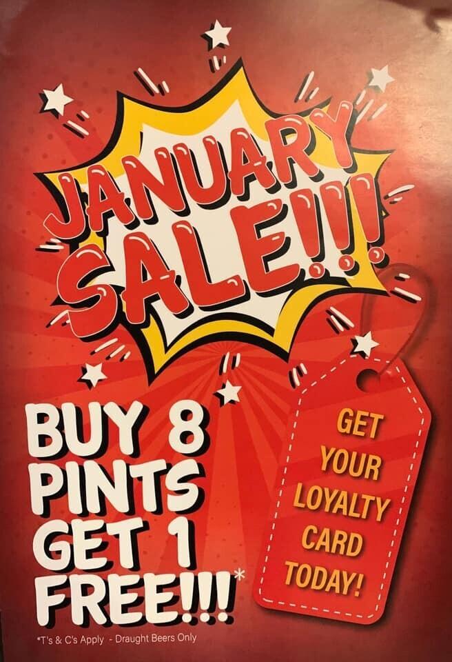 Buy 8 Pints Get 1 FREE!!