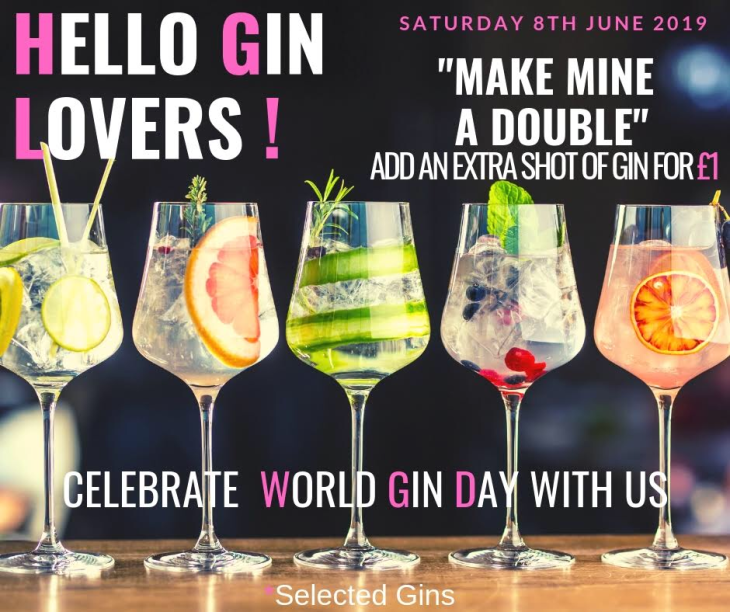 World Gin Day. Extra shot for £1