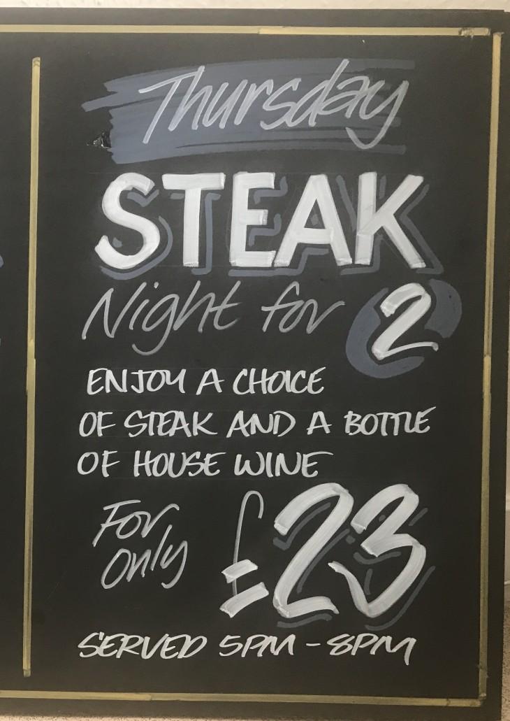 STEAK NIGHT  - 2 Dine for £23