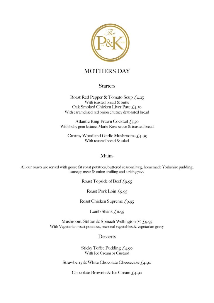 Mothers Day - 3 courses for £16.50