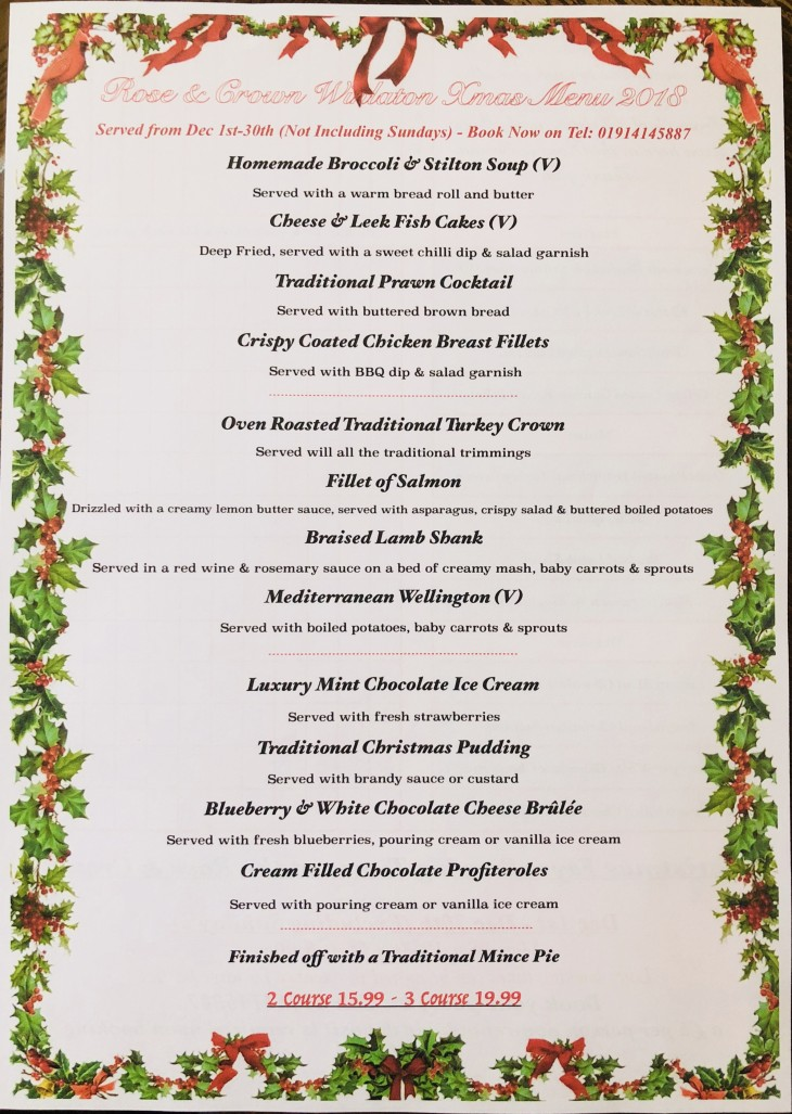 Xmas Fayre Menu 2018... Book Now!