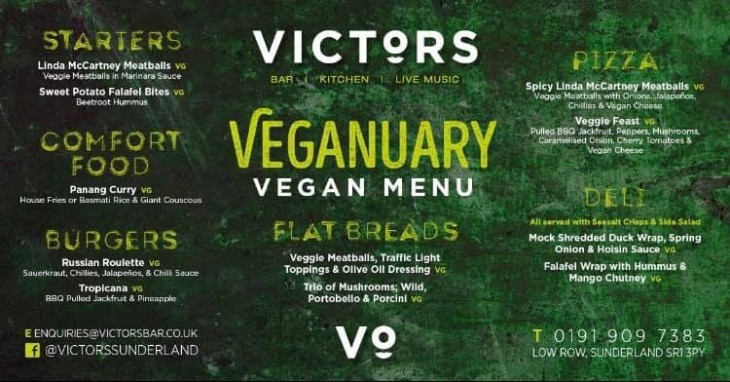 Veganuary Vegan Menu