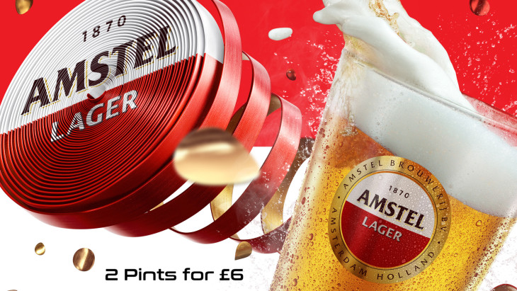 2 pints of Amstel for £6!