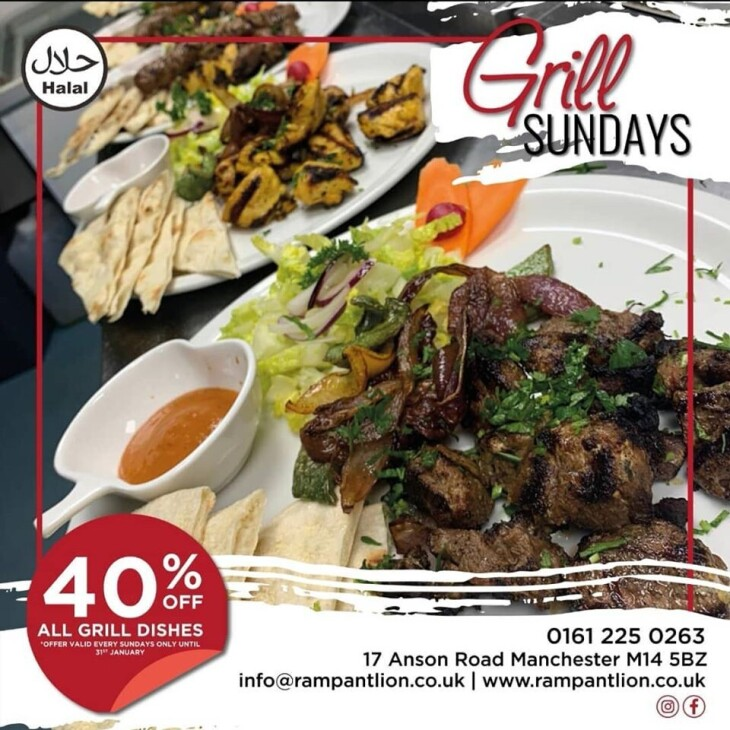 40% off on Grill Sundays Jan and Feb!