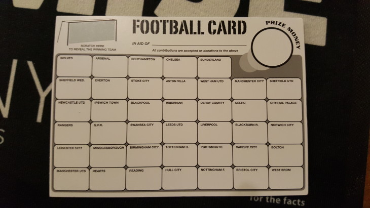 Weekly Charity Football Scratch Card!