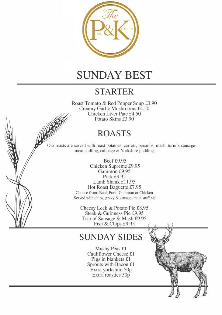 SUNDAY LUNCH - FREE GLASS OF FIZZ