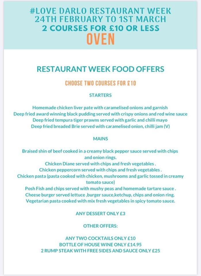 Restaurant week food offer