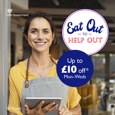 £10 off when you Eat Out to Help Out