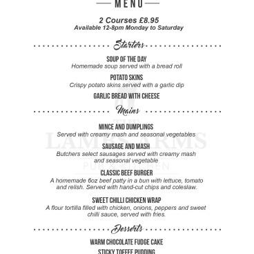 New 2 course menu £8.95